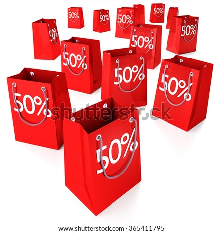 Shopping bags with fifty percent - stock photo