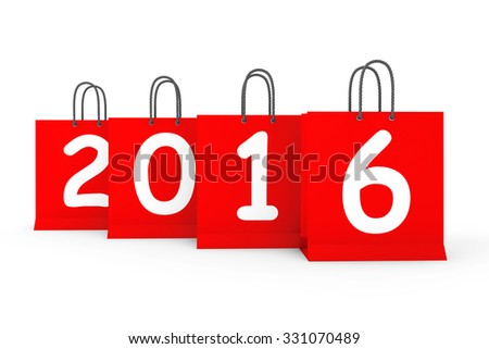 Shopping Bags with 2016 New Year Sign on a white background - stock photo