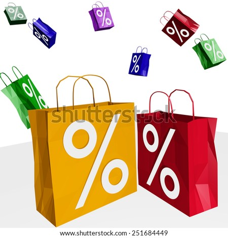 Shopping bags with percent imprint - stock photo