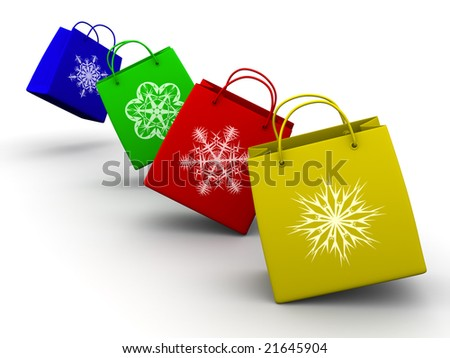 Shopping bags with snowflake. 3d