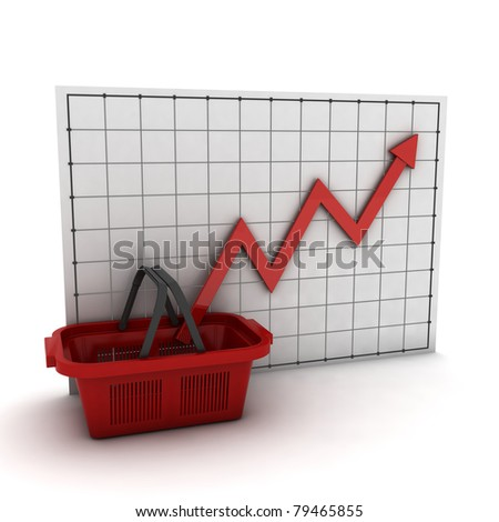 shopping basket against  business graph, isolated on  white background
