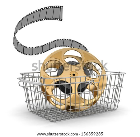 Shopping Basket and Film Strip (clipping path included) - stock photo