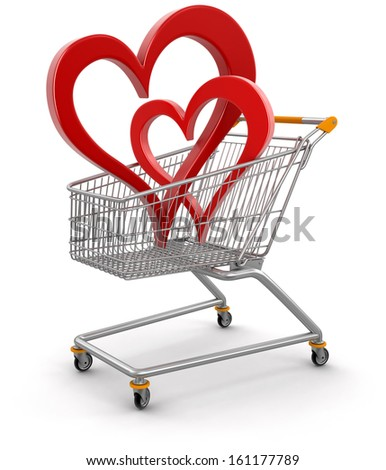 Shopping Basket and hearts (clipping path included) - stock photo