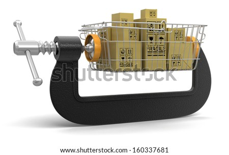Shopping Basket and packages in clamp (clipping path included) - stock photo