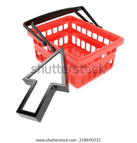 Shopping basket and pointing cursor isolated on white background. Internet commerce concept. 3d rendering image - stock photo