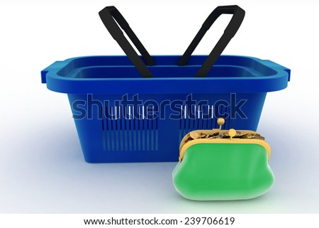 Shopping basket and purse full of money. Concept of saving money. 3d render illustration on white background.  - stock photo