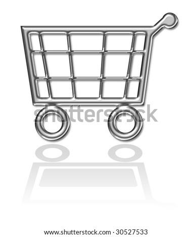 Shopping basket, cart button - stock photo