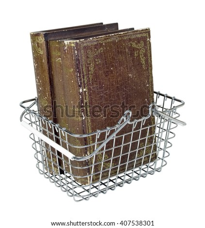 Shopping basket filled with vintage old books - path included - stock photo