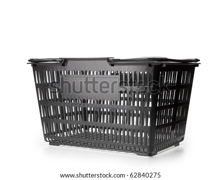 Shopping basket, handles down. Isolated on white. - stock photo