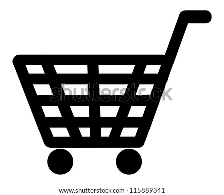 Shopping basket icon illustration isolated on white background - stock photo