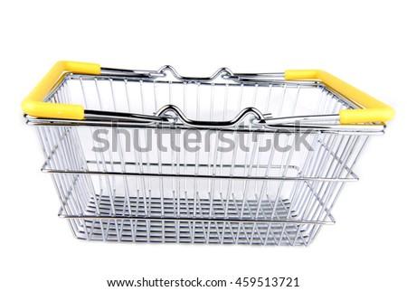 shopping basket isolated on white - stock photo