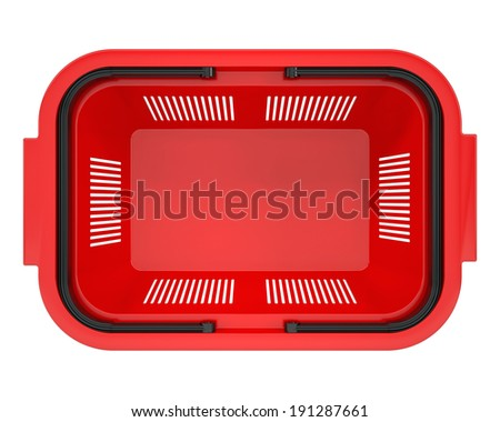 Shopping basket. Isolated on white background. top view - stock photo