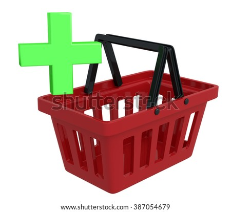 Shopping Basket On White Background With Add-Plus Symbol