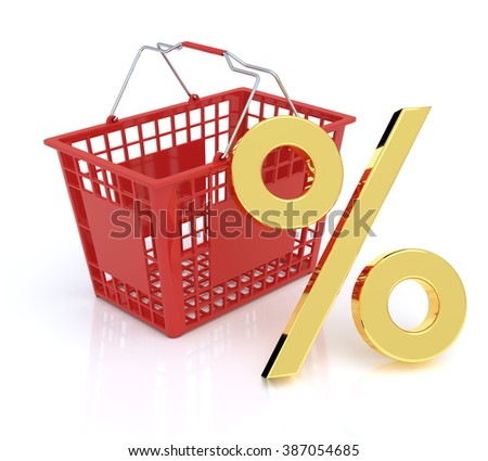 Shopping Basket On White Background With Percent Symbol