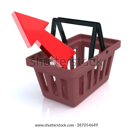 Shopping Basket On White Background With Remove Arrow - stock photo