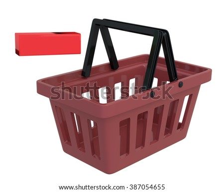 Shopping Basket On White Background With Remove Symbol