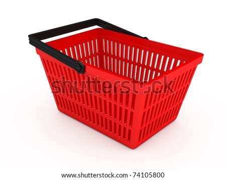 Shopping basket over white background. 3d rendered image - stock photo