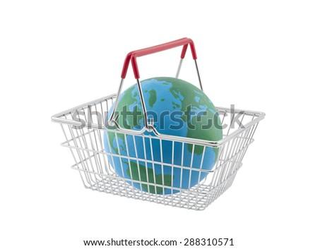 Shopping basket with globe isolated on white background - stock photo