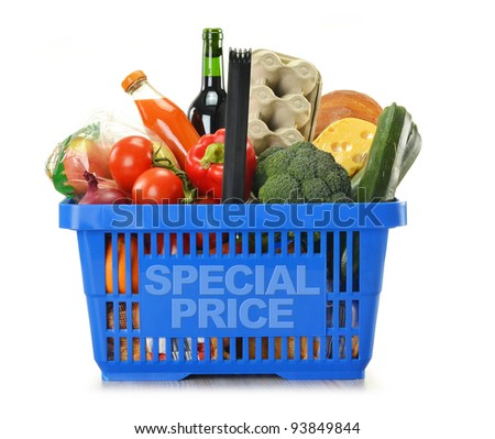 Shopping basket with groceries isolated on white. Special price - stock photo