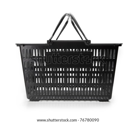 Shopping basket with handle up. empty.isolated on white. - stock photo