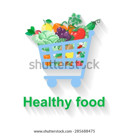 Shopping basket with healthy food  flat illustration - stock photo