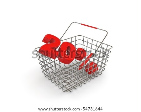shopping basket with percentage discount - stock photo