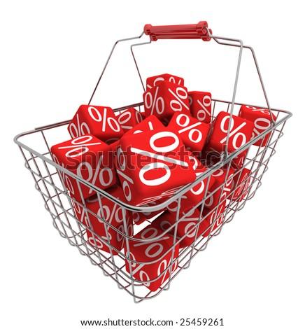 Shopping basket with red cubes - stock photo