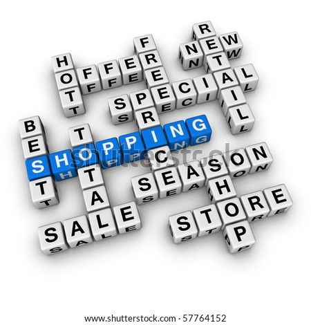 shopping  (blue-white cubes crossword series)