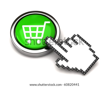 Shopping button and hand cursor - stock photo
