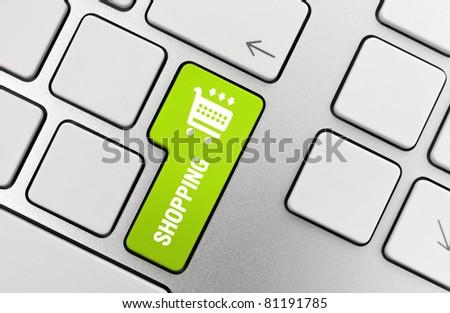 Shopping button key on modern aluminum keyboard. - stock photo