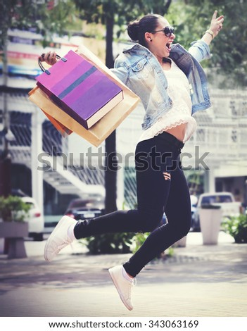Shopping Buying Commerce Customer Happiness Concept - stock photo