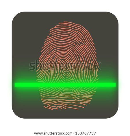 Shopping by finger Touch, ID Fingerprint scan Access icon. Touch screen - stock photo