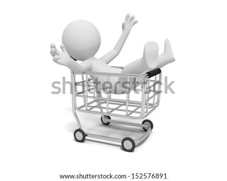Shopping cart/A 3d human character/shop - stock photo