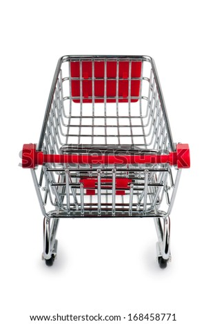 Shopping cart against the white background - stock photo