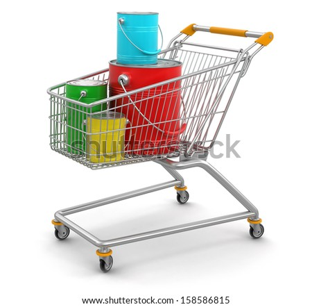 Shopping Cart and Cans of paint (clipping path included) - stock photo