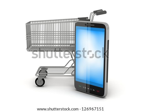 Shopping cart and cell phone on white background - stock photo