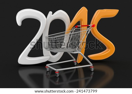 Shopping Cart and 2015 (clipping path included) - stock photo