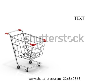 shopping cart and copy space 3d render - stock photo