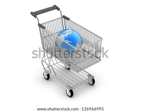 Shopping cart and earth globe