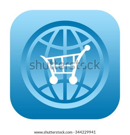 Shopping cart and globe icon - stock photo