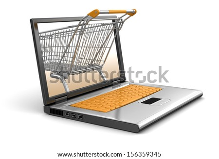 Shopping Cart and Laptop (clipping path included) - stock photo