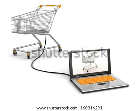 Shopping Cart and Laptop (clipping path included)