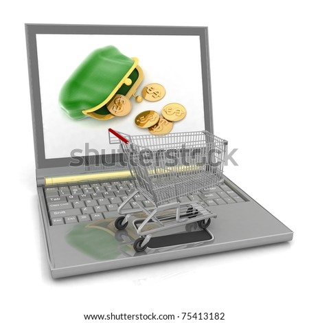 Shopping-cart and laptop isolated. Conception of purchase of commodities on the internet - stock photo