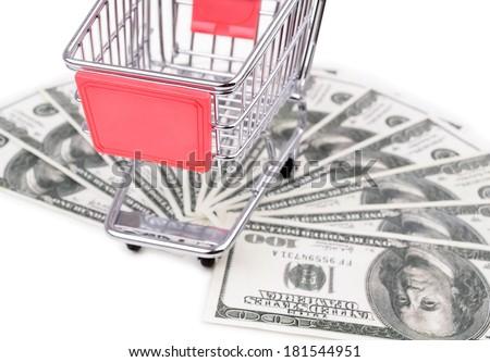 Shopping cart and money dollars, isolated on white background - stock photo