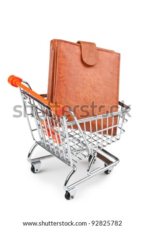 shopping cart and purse isolated on white background - stock photo