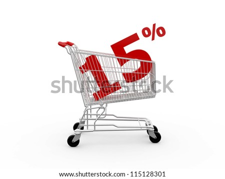 Shopping cart and red fifteen percentage discount, isolated on white background.