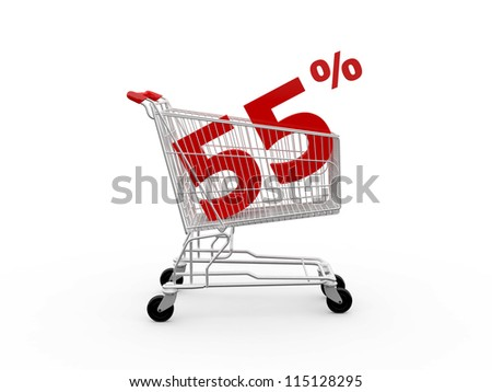 Shopping cart and red fifty five percentage discount, isolated on white background.