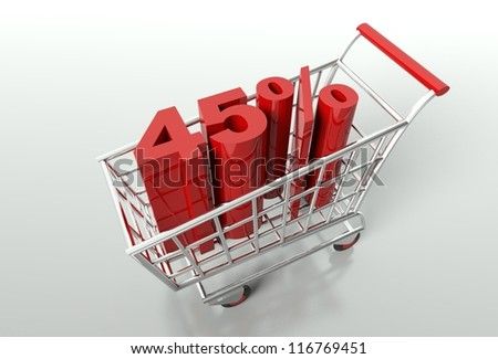 Shopping cart and red forty five percent discount, sale concept - stock photo