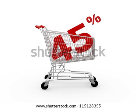 Shopping cart and red forty five percentage discount, isolated on white background.
