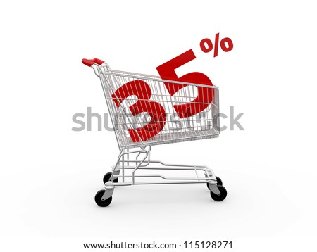 Shopping cart and red thirty five percentage discount, isolated on white background. - stock photo